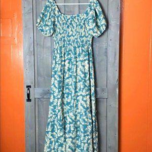 Free People Soft Seafoam Puff Sleeves Maxi Dress